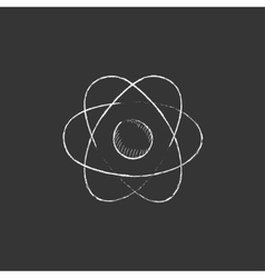 Atom Drawn in chalk icon vector image vector image