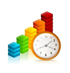 Business graph and clock vector image vector image
