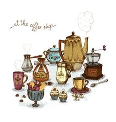 Coffee shop still life vector