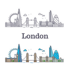 london city skyline with famous buildings tourism vector image