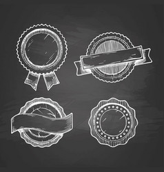 retro labels on chalkboard vector image