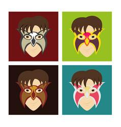 Set of superhero in action superhero character vector