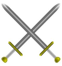 steel swords on white vector image