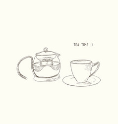 tea set kettle and cup sketch vector image