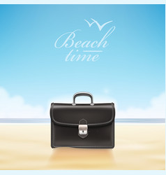 business suitcase at sunny beach vector image vector image