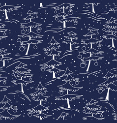 cute winter seamless pattern with christmas tree vector image