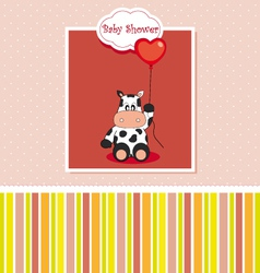 new baby shower card with cow vector image