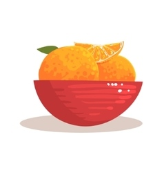 Red Ceramic Bowl Full With Fresh Garden Oranges vector image