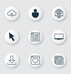 Set of 9 internet icons includes mouse login vector