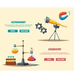 Set of science logo Cartoon Education theme vector image