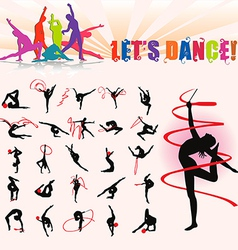silhouettes of artistic gymnastics vector image vector image