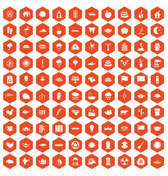 100 lotus icons hexagon orange vector