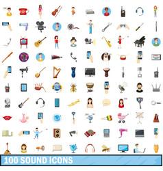 100 sound icons set cartoon style vector