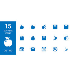 15 dieting icons vector