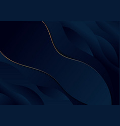Abstract background dark blue wave with wavy gold vector