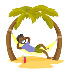 African-american man lying in hammock on the beach vector