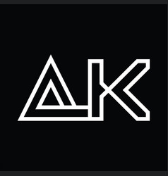 Ak logo monogram with line style negative space vector