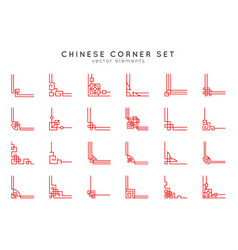 asian corner set in vintage style on white vector image