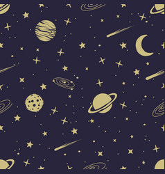Astronomic seamless pattern vector