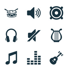 Audio icons set with barrel instrument earphone vector