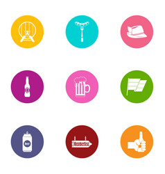 barrel of alcohol icons set flat style vector image
