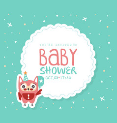 bashower invitation card template with cute vector image