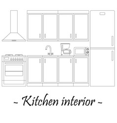 black-and-white of a kitchen interior vector image
