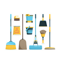 Broom collection household equipment mops and vector