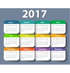 Calendar 2017 year German Week starting on Monday vector image