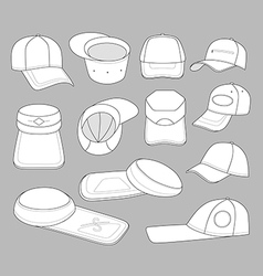 Cap template set vector