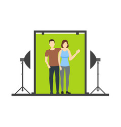 cartoon lover couple photo studio scene vector image