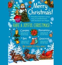 christmas celebration poster of new year holidays vector image