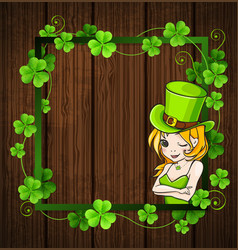 clover leaves and girl vector image