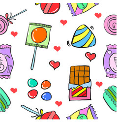 Collection stock of candy sweet doodle vector