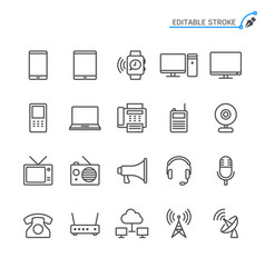 communication device line icons editable stroke vector image