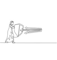 Continuous one line drawing young arabic male vector