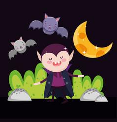 Count dracula bats moon night halloween vector