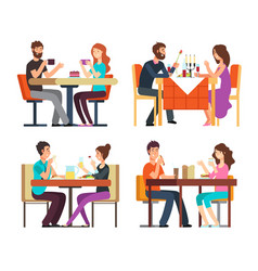 Couples table man woman having coffee and dinner vector