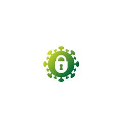 Creative covid-19 coronavirus lock logo symbol vector