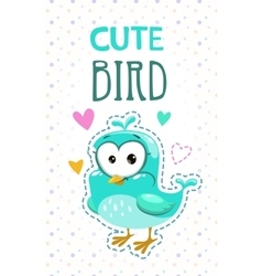 Cute girlish with funny blue bird vector image