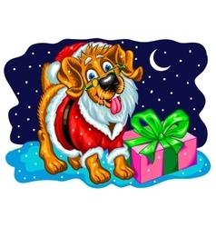 Dog with Christmas gifts Santa Claus vector image