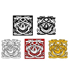 Dogs ornamental pattern in celtic style vector