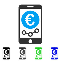 Euro mobile market monitoring flat icon vector