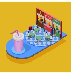 Fast Food Isometric Concept vector image