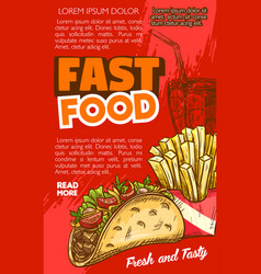 Fast food tacos or french fries sketch menu vector