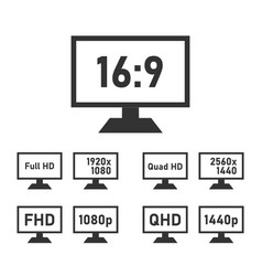 fhd and qhd specifications icon set full hd and vector image