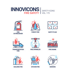 Fire safety - modern line design style icons set vector