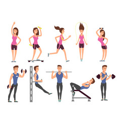 Fitness people cartoon characters set vector