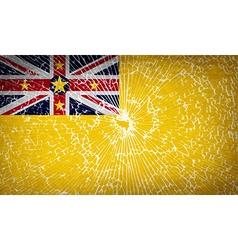 Flags niue with broken glass texture vector