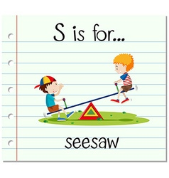 Flashcard letter S is for seesaw vector image